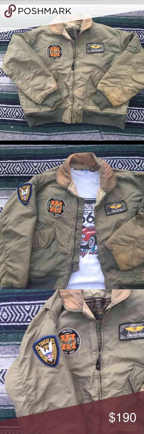 Tomcat Vintage 1940s Bomber Jacket This is a collector item. In vintage but good condition. Size medium. Dated at 1940s and is genuine military. Embroidered on the back. Vintage Jackets & Coats Puffers