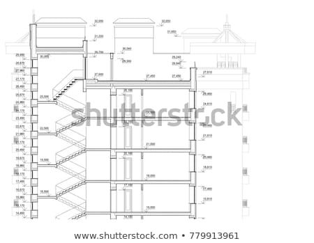 Detailed Architectural Plan Of Multistory Building Cross Section