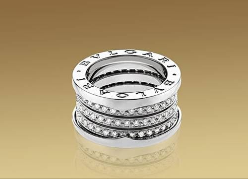bulgari ring in white gold with pav diamonds