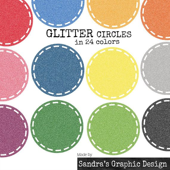 """Clip art: """"CIRCLES GLITTER"""" with blocked border in various colors, 24 clipart 300 dpi PNG  files (924)"""