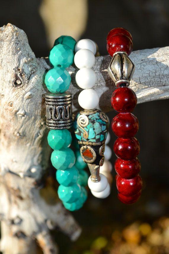 Set of 3 Boho Beaded Stretch Bracelets by uniquebeadingbyme #boho #bohemian