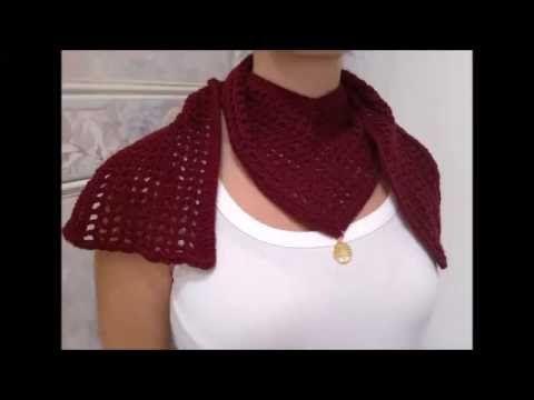Πολυ Ευκολο Πλεχτο κασκολ σχημα -V- με βελονακι . How to crochet -V- scarf