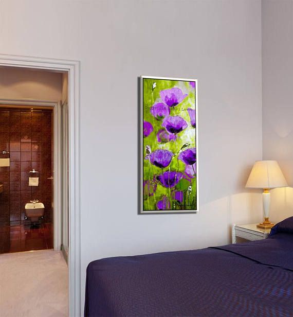 An elegant purple & green canvas art of gorgeous blooming flowers. I love the magical interplay of light and color between the flowers and the sun in the field. In this nature decor the sunbeams are fluttering though the flowers and make the whole room illuminated by this wall picture.