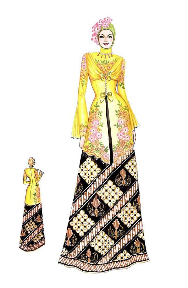 Sketch of Modern Yellow Kebaya with Batik