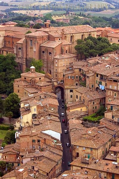 Siena, Italy. We actually drove down these narrow and winding streets, then realized we were in a Limited Traffic Zone!