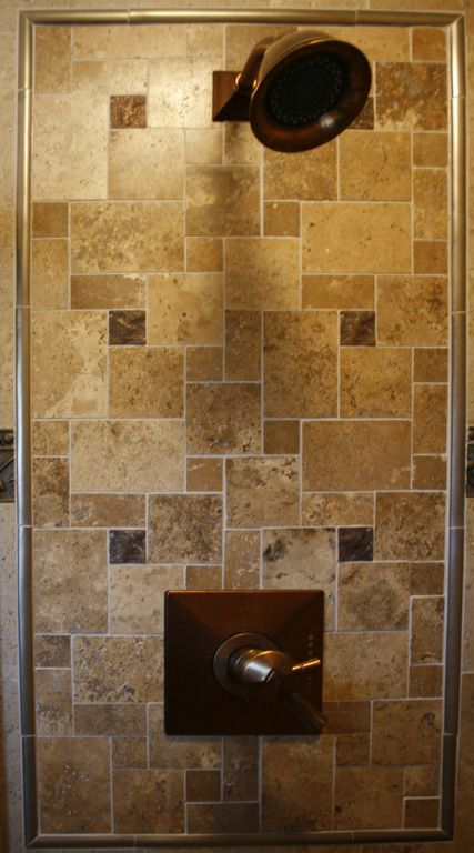 Travertine mosaic shower insert  I like this   something different from the normal. 1000  ideas about Shower Inserts on Pinterest   Accent tile