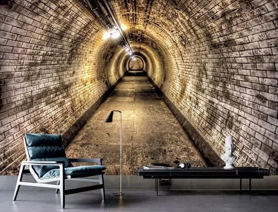 3D Depth Tunnel Wallpaper Industrial Wind Cave Tunnel Wall Poster Background Wall Livingroom Decor