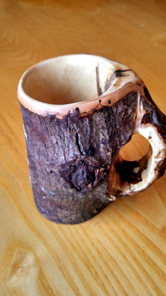 Handcrafted Natural Wooden Mug by RealMaineWoodworks on Etsy
