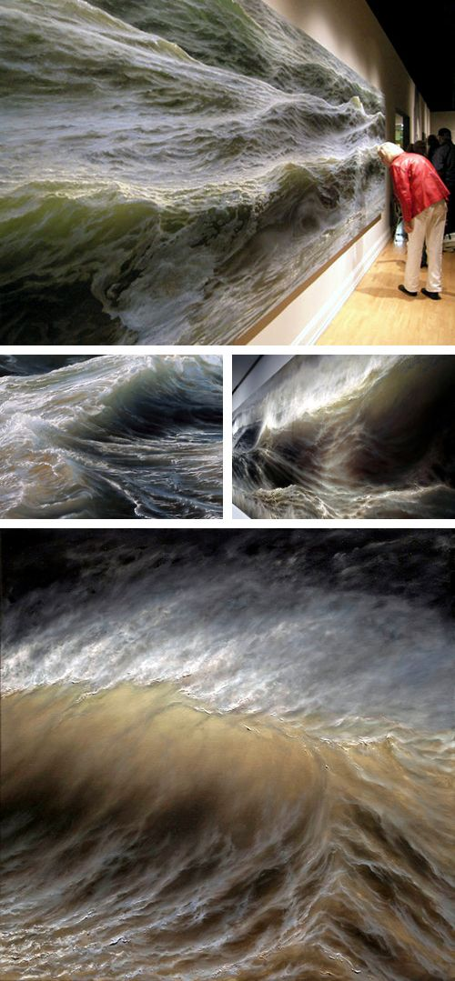 Ran Ortner | Swell (2006) Oil on canvas -- Ran Ortner does paintings of waves often so real that they seem to gush out of the canvas. These are waves with all the light and shadow and power of the breathing sea. On top of his paintings, it is well worth checking out some of his installations, which recreate the natural forms of sand, building ripples and dunes right in the gallery.