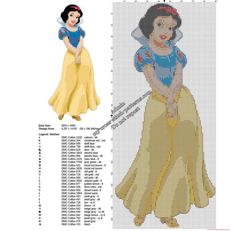Disney Snow White free cross stitch pattern 88 x 196 29 DMC threads