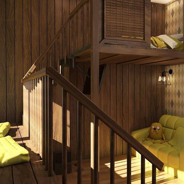 Таунхаус, Лесная поляна. Детская комната, 2 этаж  #леснаяполяна #детская #incdesign #лофт #детскийлофт #interior #kidsroom #шалаш #домик #yellow #yellowroom