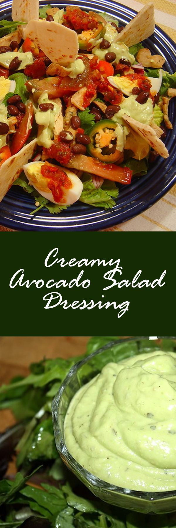 What better to serve up with Taco Salad than a Creamy Avocado Salad Dressing recipe? Yummy!