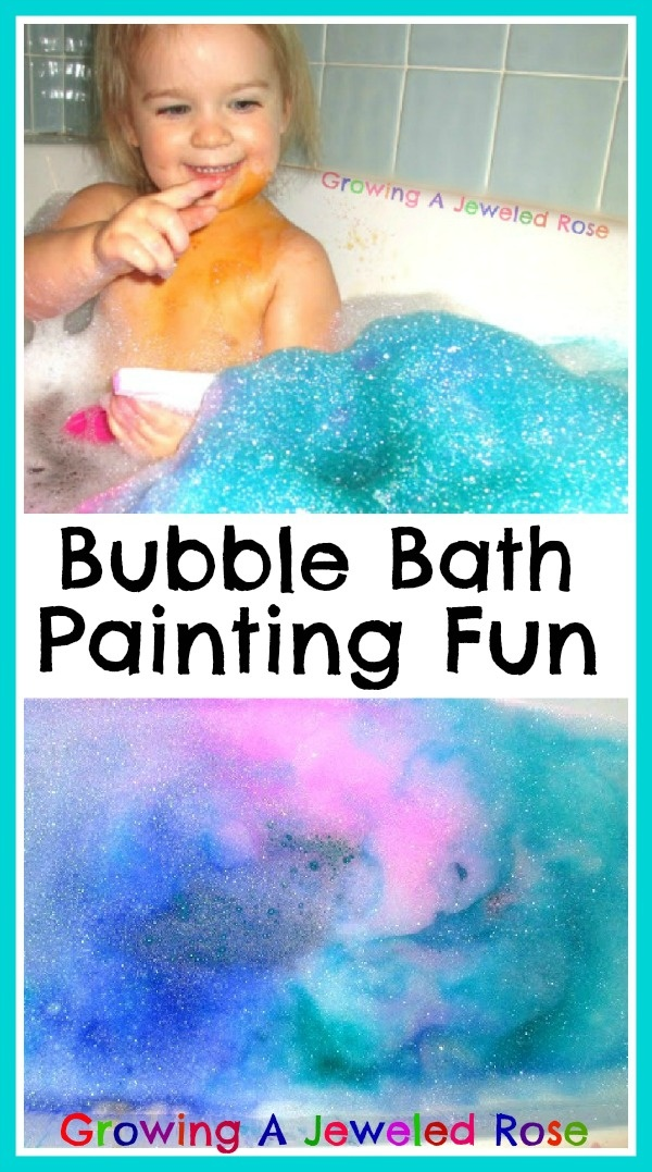 Let little ones paint their bath bubbles- fun art exploration that washes right down the drain!