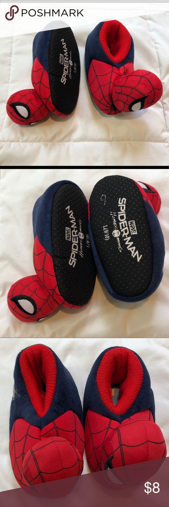 5/$25 Spider Man Toddler House Slippers 9/10 NWOT Spider Man House slippers Tags were pulled off  Never worn Size 9/10 Marvel Shoes Slippers