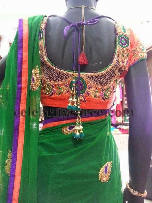 Cut Work Orange Silk Blouse | Saree Blouse Patterns