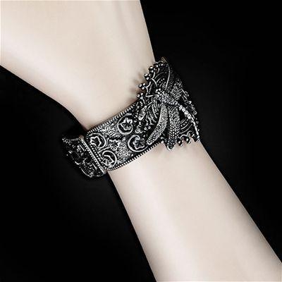 Gothic Metal Steampunk dragonfly and flower bracelet antique silverlook www.attitudeholland.nl Restyle