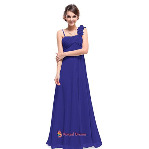 Royal Blue One Shoulder Bridesmaid Dress Chiffon,Royal Blue Bridesmaid Dresses UK With Straps