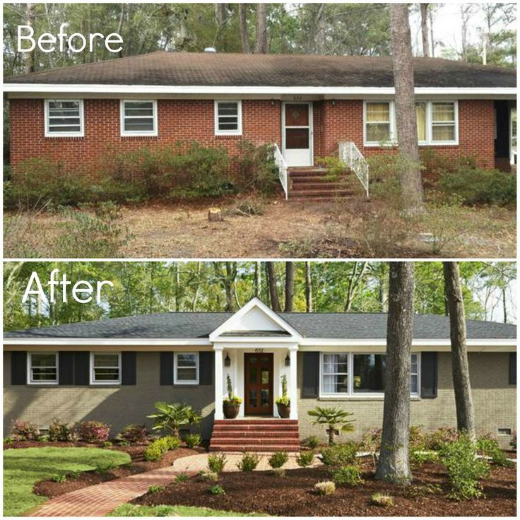 before & after - adding porch and shutters, painting brick, landscape