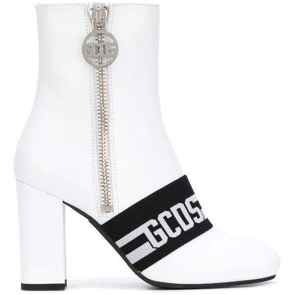 Gcds logo stripe ankle boots ($308) ❤ liked on Polyvore featuring shoes, boots, ankle booties, white, leather bootie, leather boots, white bootie, leather ankle boots and white booties