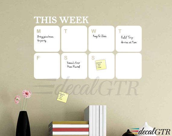 Dry Erase Calendar Decal  white board calendar  weekly by DecalGTR