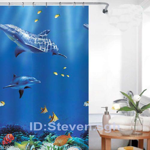 Lovley Dolphin PEVA Bathroom Shower Curtain WY2545 #MadeinChina #Animal