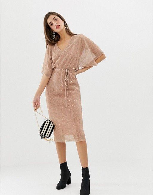 1d4034e2223b River Island plisse t-shirt dress with tie waist in light pink sequin