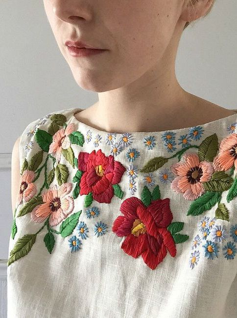 Embroidered Linen Top by Tessa Perlow on Etsy