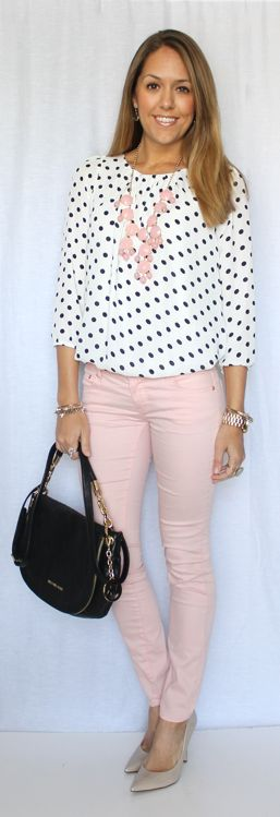 Baby pink jeans with black and white spot top {dalmatian?} and pink bubble necklace {eBay}