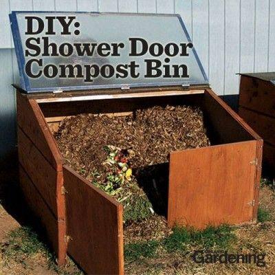 The Homestead Survival | Recycled Shower Door Compost Bin | http://thehomesteadsurvival.com - composting - gardening - homesteading - DIY Project