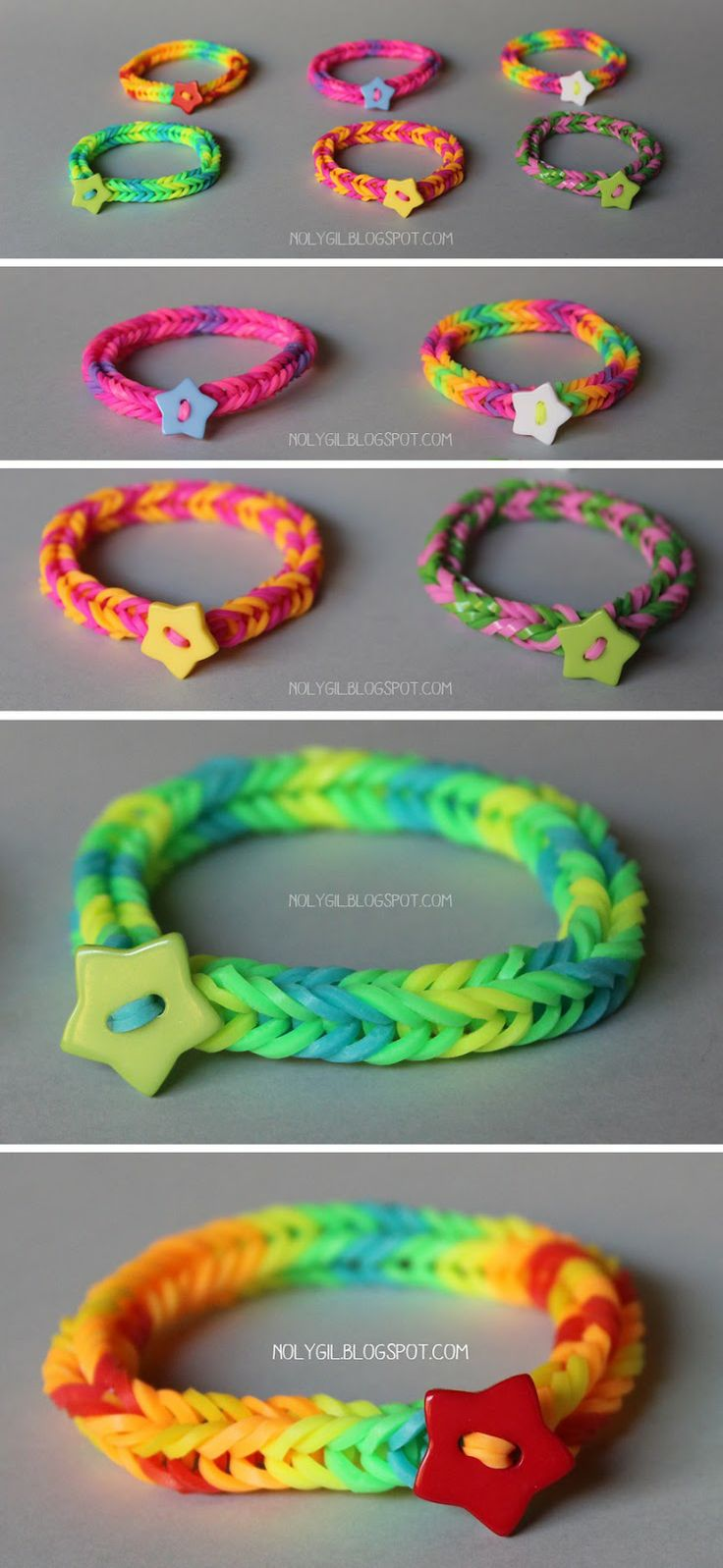 DIY Tutorial Rubber bands Colorful with button NolyGil.blogspot.com Detailed photo tutorial on site #rainbowloom
