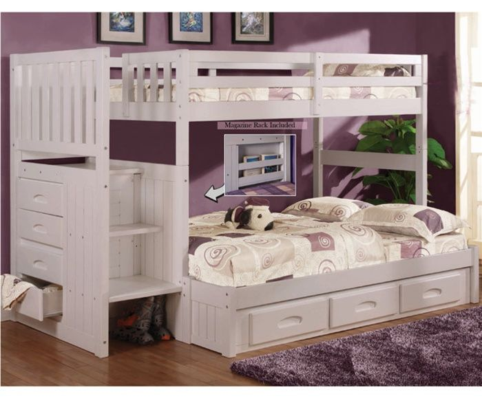 Discovery world furniture white twin full staircase bunk for Matching bed and dresser