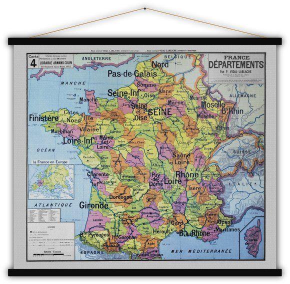 Carte Departements De France 140x120 Blue Shaker Graphic