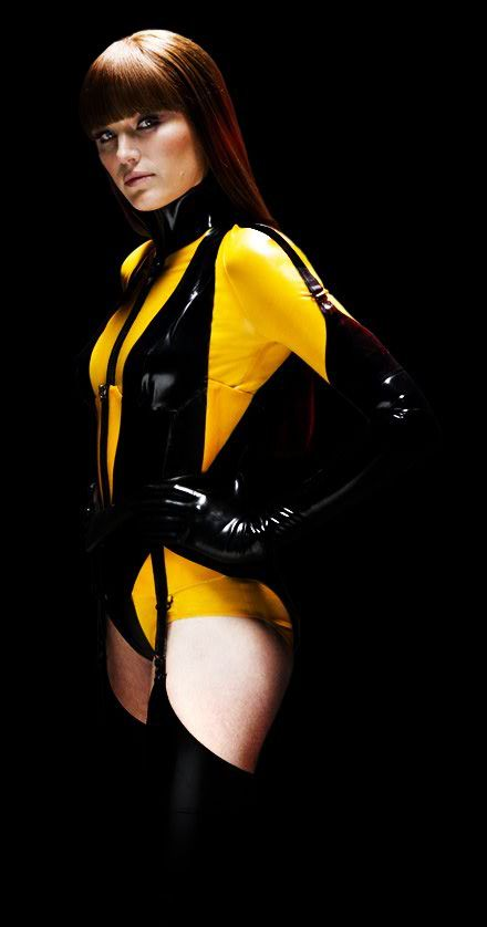 Malin Akerman - Silk Spectre II in the Watchmen (Costume designer Michael Wilkinson). French cut, two-toned bodysuit and I just loved the unusual use of garters on the gloves.
