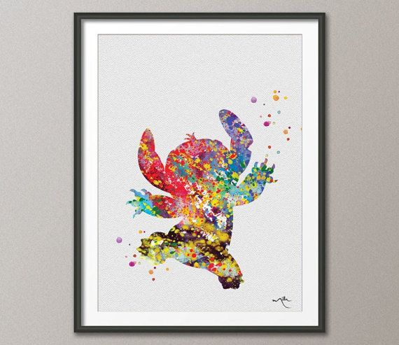 STITCH from Lilo and Stitch Watercolor illustrations by CocoMilla, $15.00