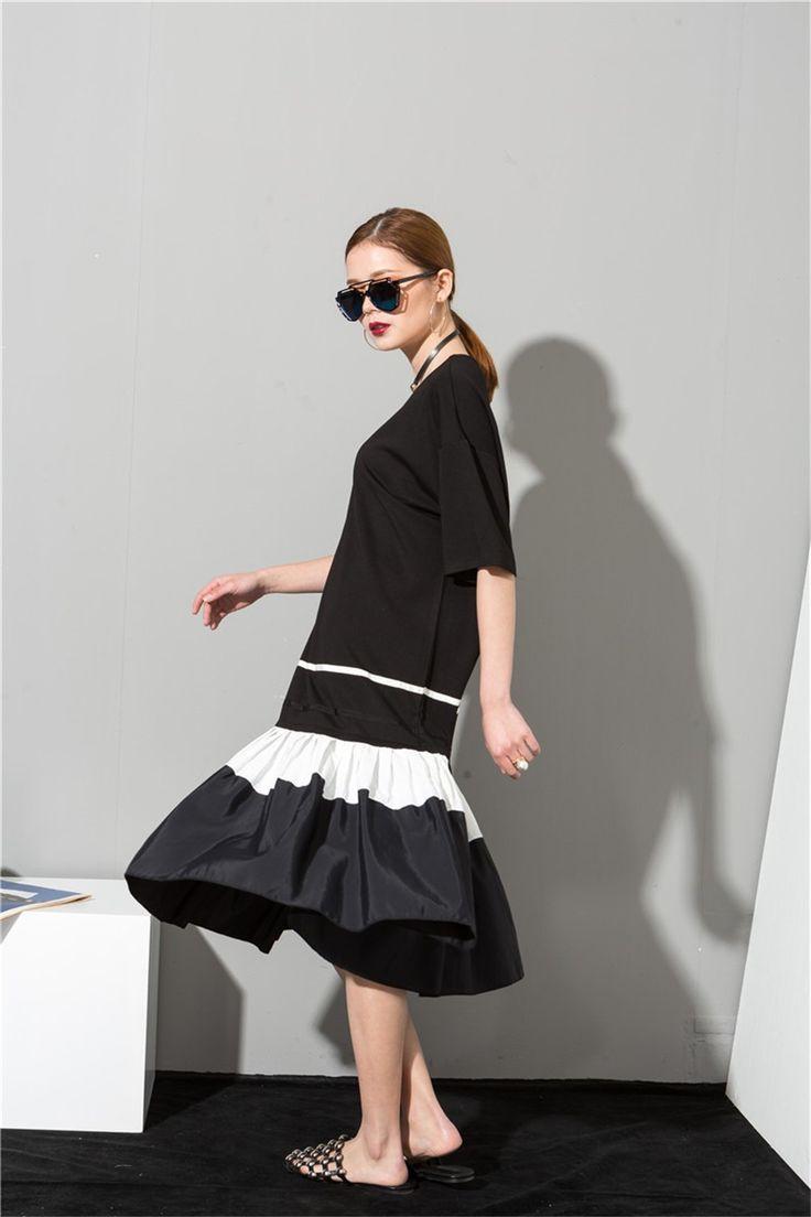 2017 Мода Новый простой Черный Белый шить сыпучих БОЛЬШИЕ dress женский орган плиссированные подол оптовая Женщина W0070 купить на AliExpress