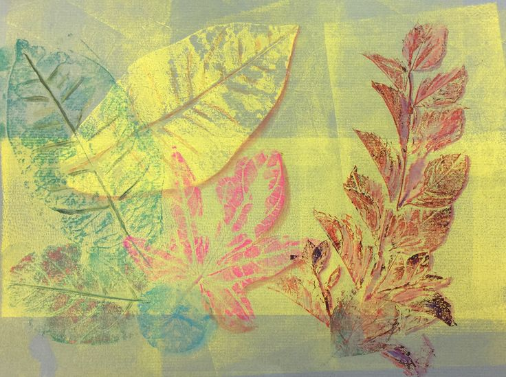 Hand Printing from Nature, Block Printing Inks on Toned Pastel Paper
