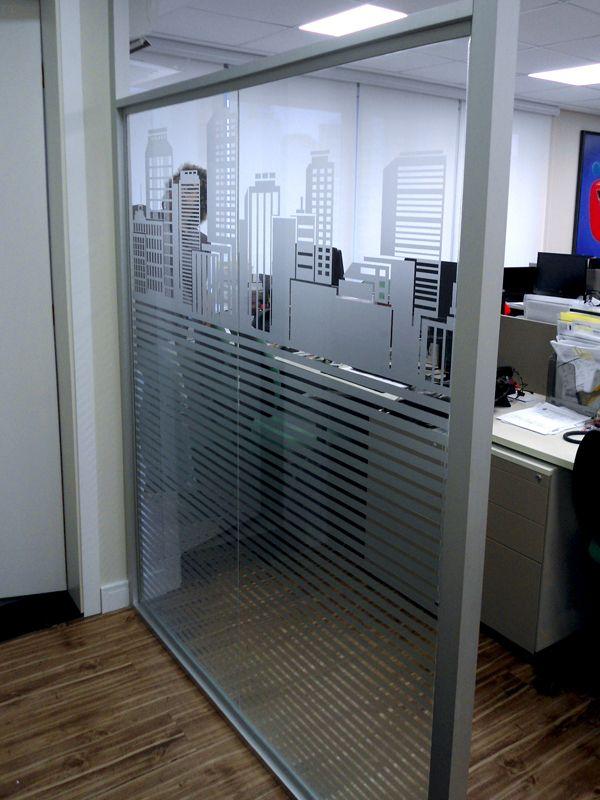 Adesivo Jateado Para Vidro Divisorias De Vidro Para Escritorio