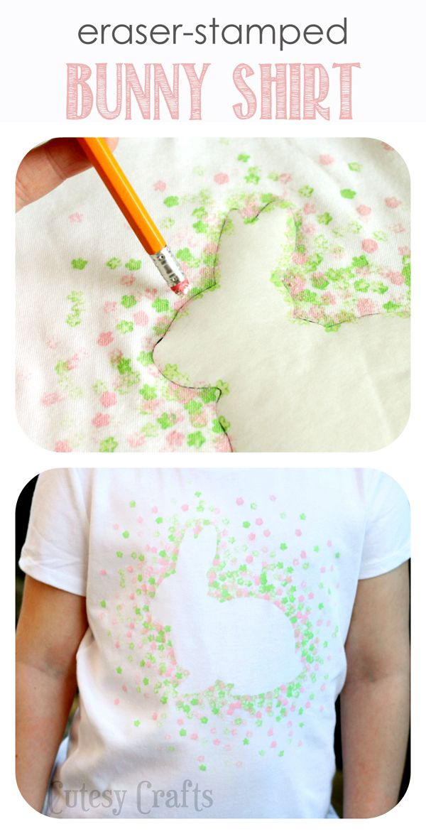 Eraser-Stamped Easter Bunny Shirt - Made with Freezer Paper and a pencil eraser!  Camiseta con conejo de pascual. echo con papel de freezer y la goma del lapiz. verde, rosa. Original.