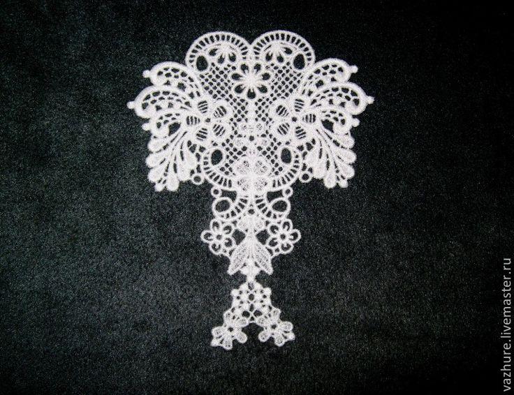 Купить Кружево элемент №33 - белый, кружево, кружево для отделки, кружевной, кружевная вставка