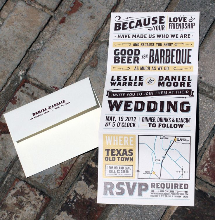 "An artful combination of straightforward and ""straight craftiness"", Daniel and Leslie's clever integration of ink stamping, digital printing, and hand trimming is resourcefully non-traditional in this type-based, Texas wedding package. —"