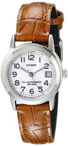 Casio Womens LTPS100L7BVCF EasyToRead Solar Watch with Brown Band >>> Details can be found by clicking on the image.