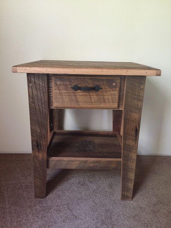 oak barn wood end table mais