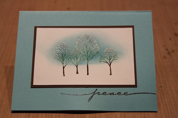 Neat inking and embossing technique using multiple ink colors and embossing powders.