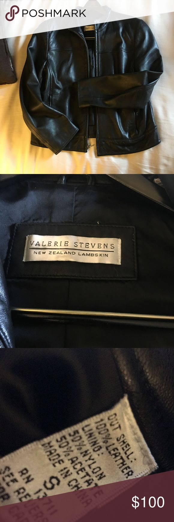 Lambskin leather jacket Black/ like new size small 100% leather Valerie Stevens Jackets & Coats