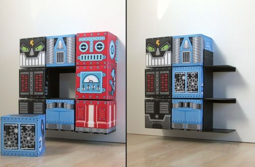 Movable robot storage cubes for kid's room!