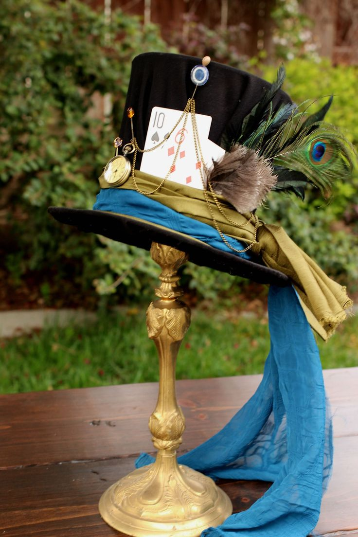 We made our very own Mad Hatter Top Hat for a centerpiece on a table. Pretty cool, huh? Thanks to Pinterest DIY for showing us how!   Alice in Wonderland | Mad Hatter | Decorative Centerpiece