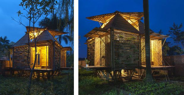 25 days and $2500 to build a bamboo house. See how.