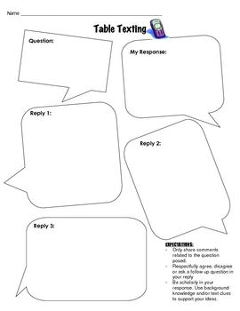 """Table Texting"" is a fun, interactive strategy you can use to get students to talk about whatever topic they need to discuss"