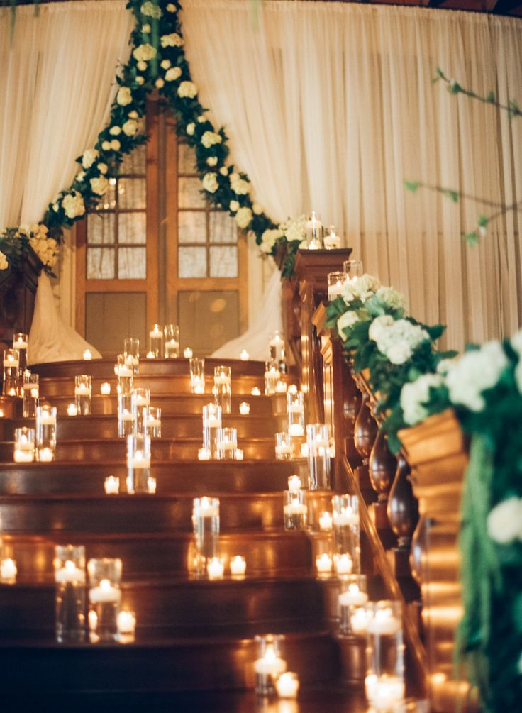 Photography : Kendra Elise Read More on SMP: http://www.stylemepretty.com/2016/05/20/the-ceremony-backdrop-a-staircase-filled-with-candles/