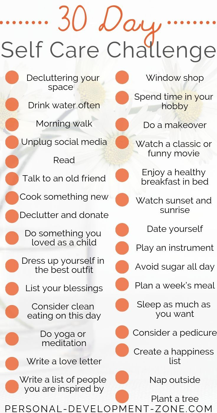 30-day self-care Challenge Ideas – MINDSET